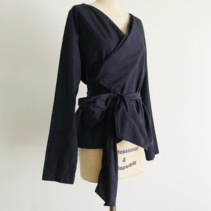 UNIQLO | Navy Blue Cotton V Neck Wrap Kimono Top